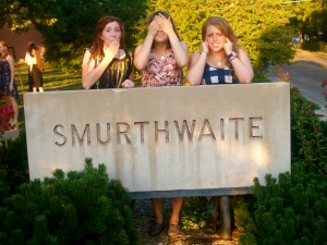 Smurthwaite shenanigans during the annual alumni dinner.