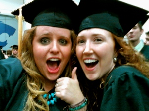 Shared my graduation day and party with Leah, my freshman roommate. The cowgirl and the hippie, we made it!