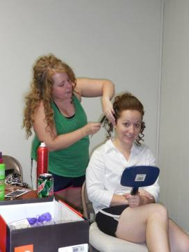 Doing Kyla's hair.