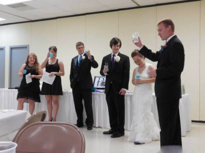 Co-Maids of Honor & Best Men giving our speeches.