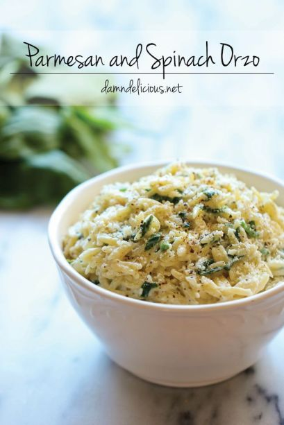 parm and spinach orzo