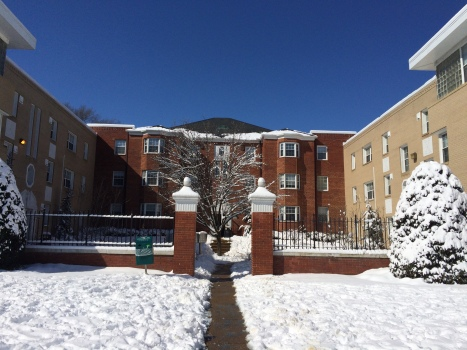 In the snow my apartment building kind of looks like the Hunger Games victor's village...