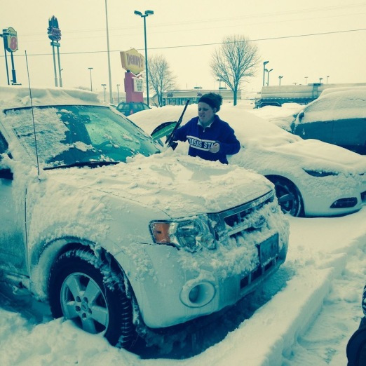 Snow at our overnight stop in Effingham, IL.