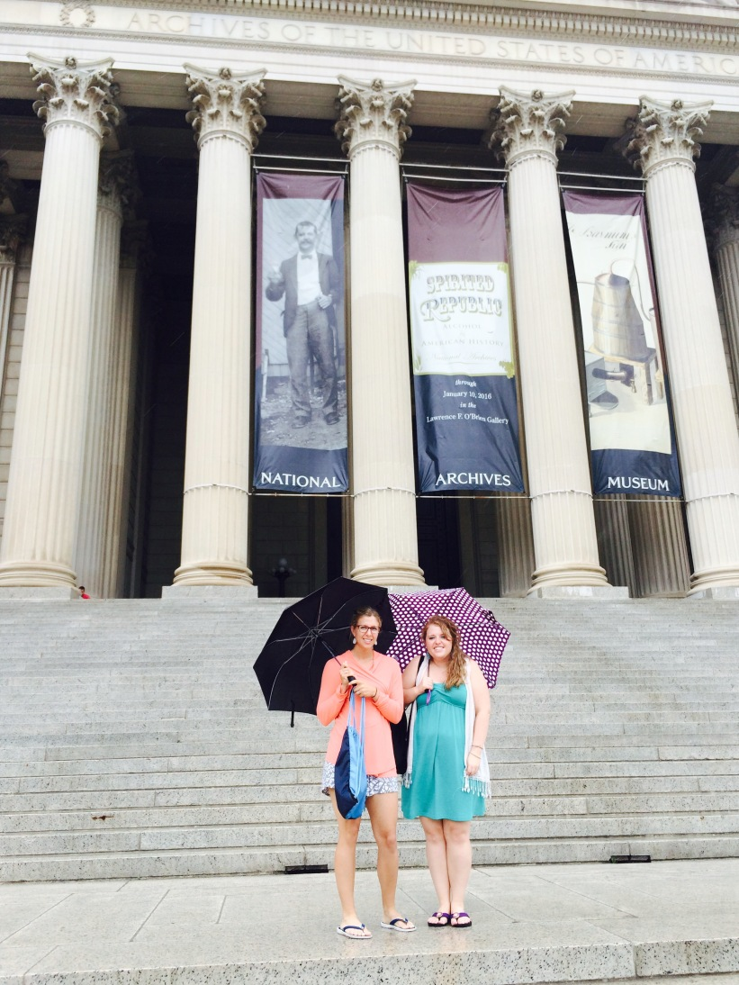National Archives where we saw the Bill of Rights, Declaration of Independence and the Constitution.