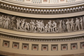 U.S. Capitol - this painting goes all the way around the Rotunda showing America's history from Columbus to the Wright Brothers took 80 years to paint.