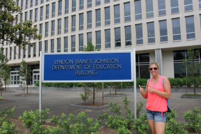 This teacher needed to get her picture at the Department of Education!