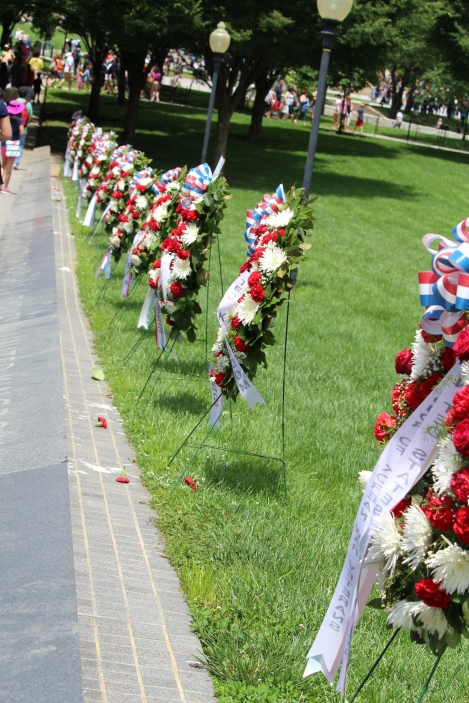 Korean War Memorial: Each wreath had a ribbon corresponding with the countires listed below on the walkway.