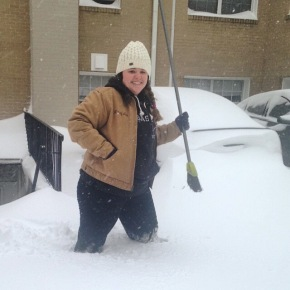 Out to clean off my car in between white outs